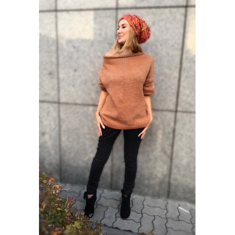 Sweter ROLL UP camel